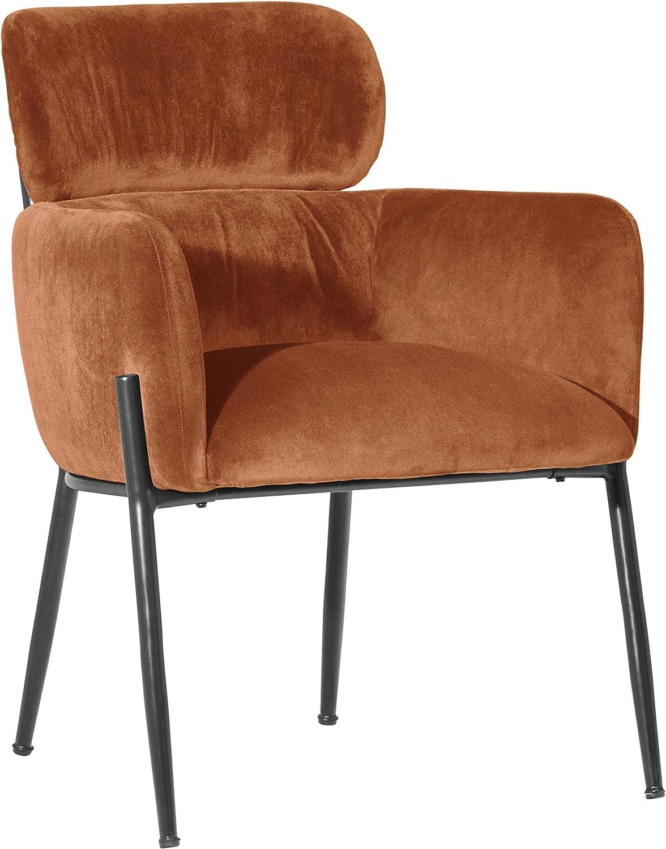 Rivet Modern Dining Room Chair 32 Inch Height, Orange