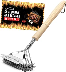 MaxxGrill Grill Brush and Scraper - Bristle Free - Safe BBQ Cleaning Brush for All Grill Types - Ideal for Gas Grill - Weber Grill Accessories Rescue Cleaner