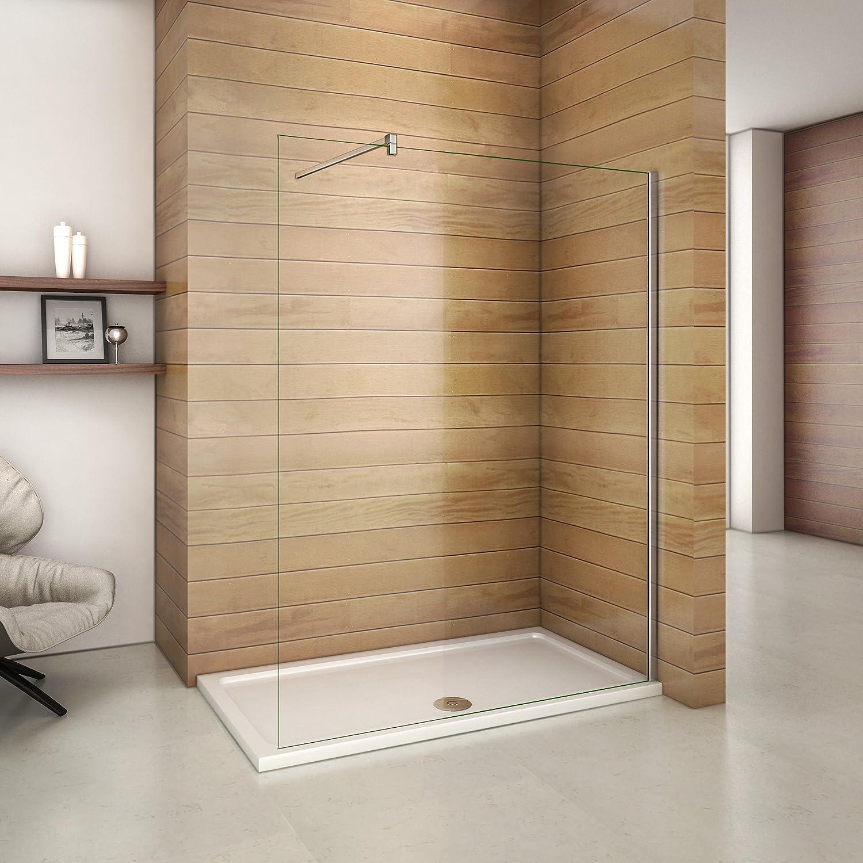 Paroi de douche 140x200 cm,paroi de douche à l'italienne en verre securit et anticalcaire avec barre de fixation avec pince renforcé