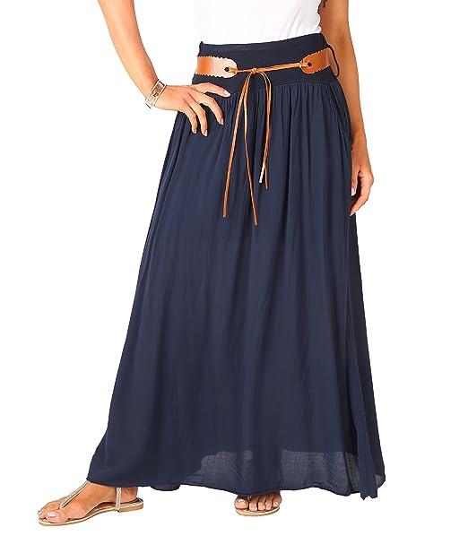 7c8e24569 KRISP Falda Larga Bohemia Elegante Plisada Hippie Cintura Elástica