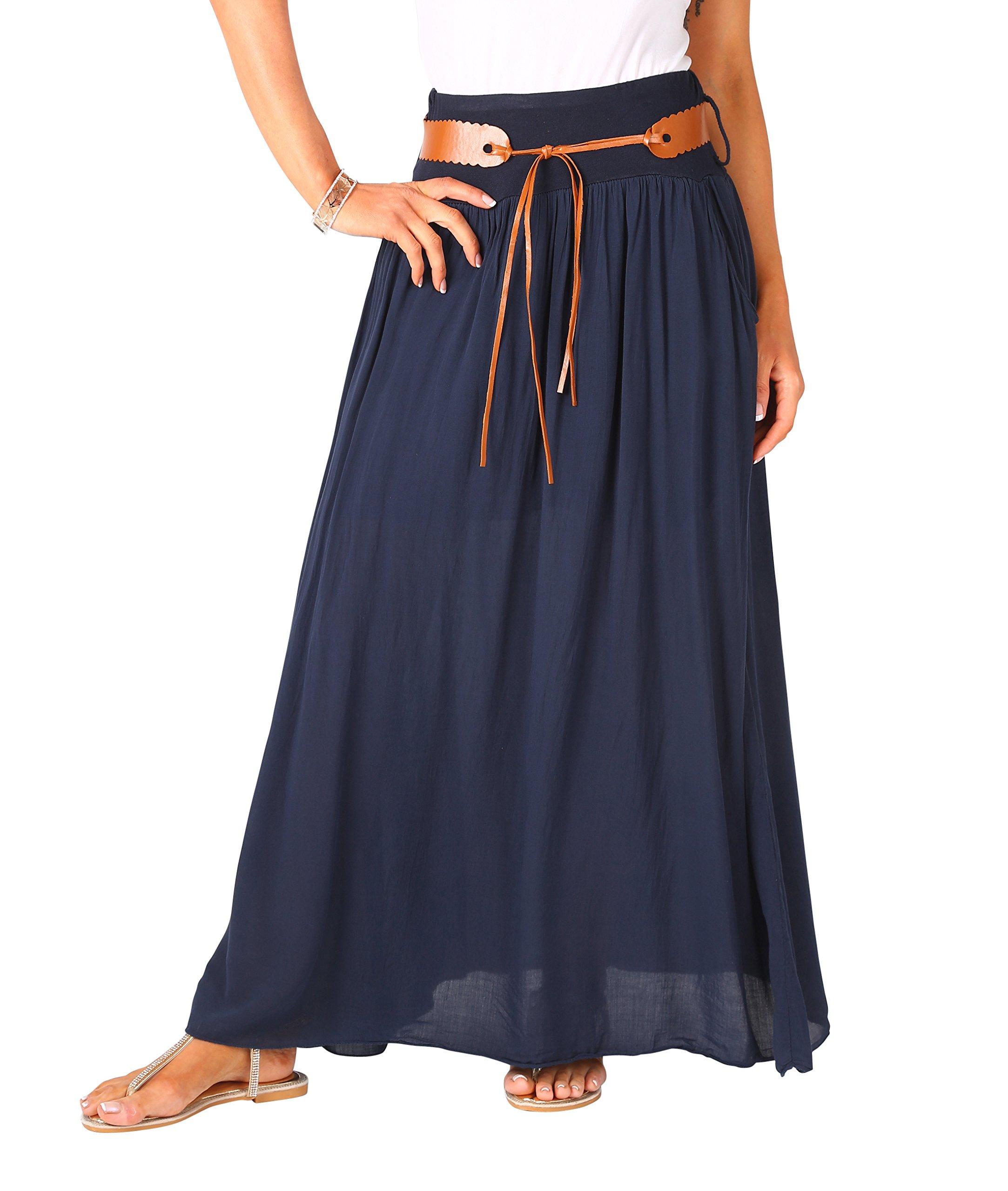 KRISP Falda Larga Mujer Boho Cintura Talla Grande Verano 2018 Plisada