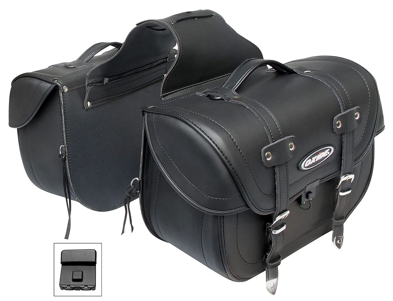 Deluxe Tek Leather Motorcycle Panniers Saddle bags, Cruiser Travel Bags WS-1000 Oxide