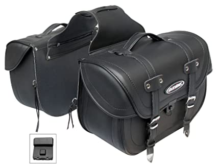 bf109cf561 Amazon.com  Oxide Deluxe Tek Leather Motorcycle Panniers Saddle Bags ...
