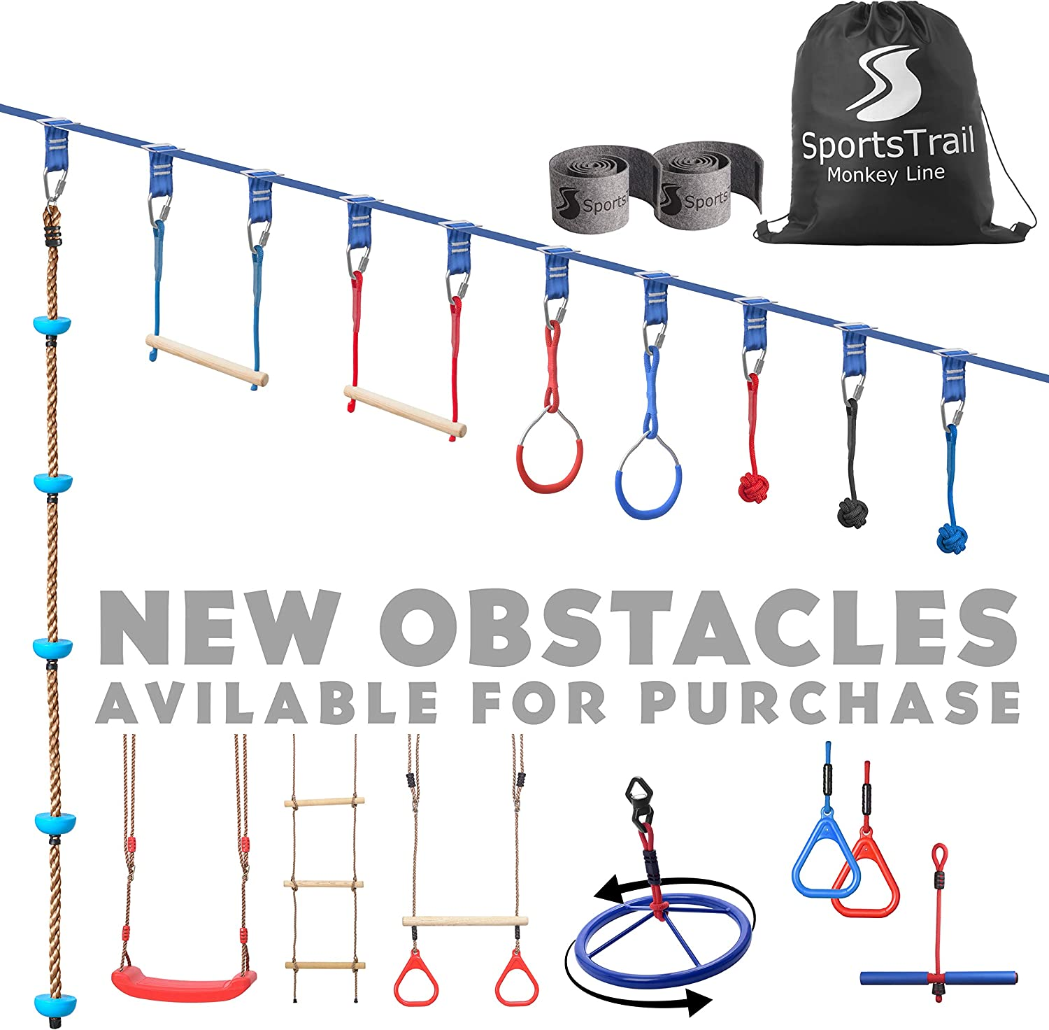Ninja Slackline Monkey Bars Kit, 42' Jungle Gym Obstacle Course for Kids and Adults + Climbing Rope, Warrior Training Obstacle Course Equipment, Slackline Gymnastic Bar, Tree Protector & Carry Bag : Sports & Outdoors