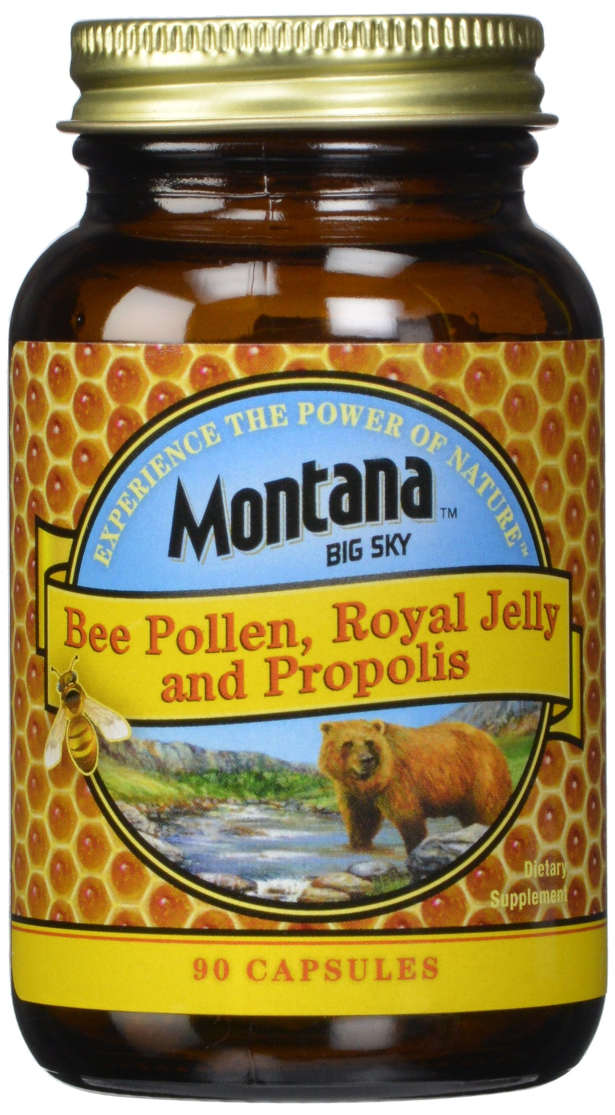 Montana Big Sky, Bee Pollen Royal Jelly and Propolis Capsules, 90 count (Pack of 12)