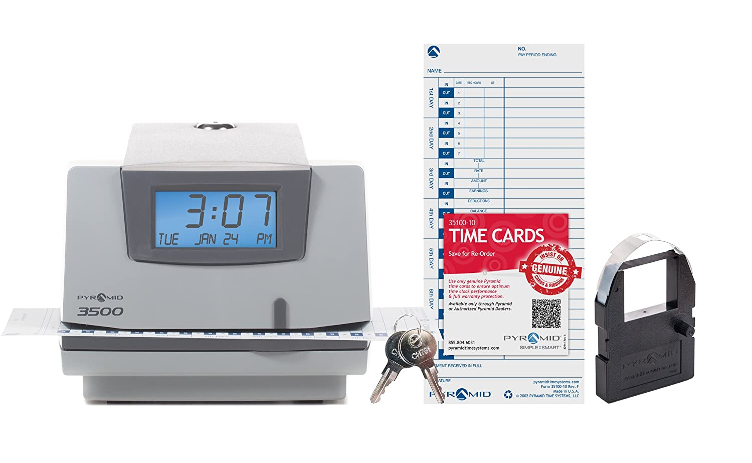 Pyramid 3500 Multi-Purpose Time Clock and Document Stamp Pyramid Time Systems