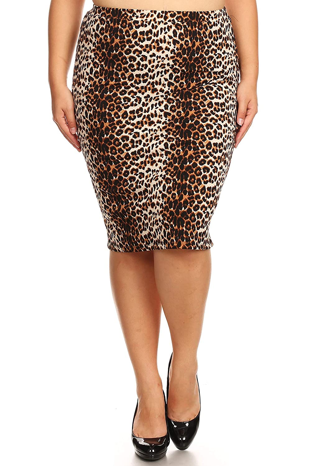 68f67f7088 Women's Plus Size Floral Pattern Print Casual Stretch Midi Pencil Skirt/Made  in USA at Amazon Women's Clothing store: