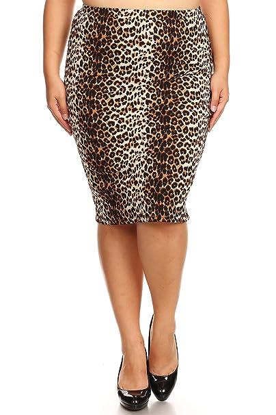 1b3e947e9e1e Plus Size Floral Pattern Print Casual Stretch Midi Pencil Skirt/Made in USA  Animal Brown