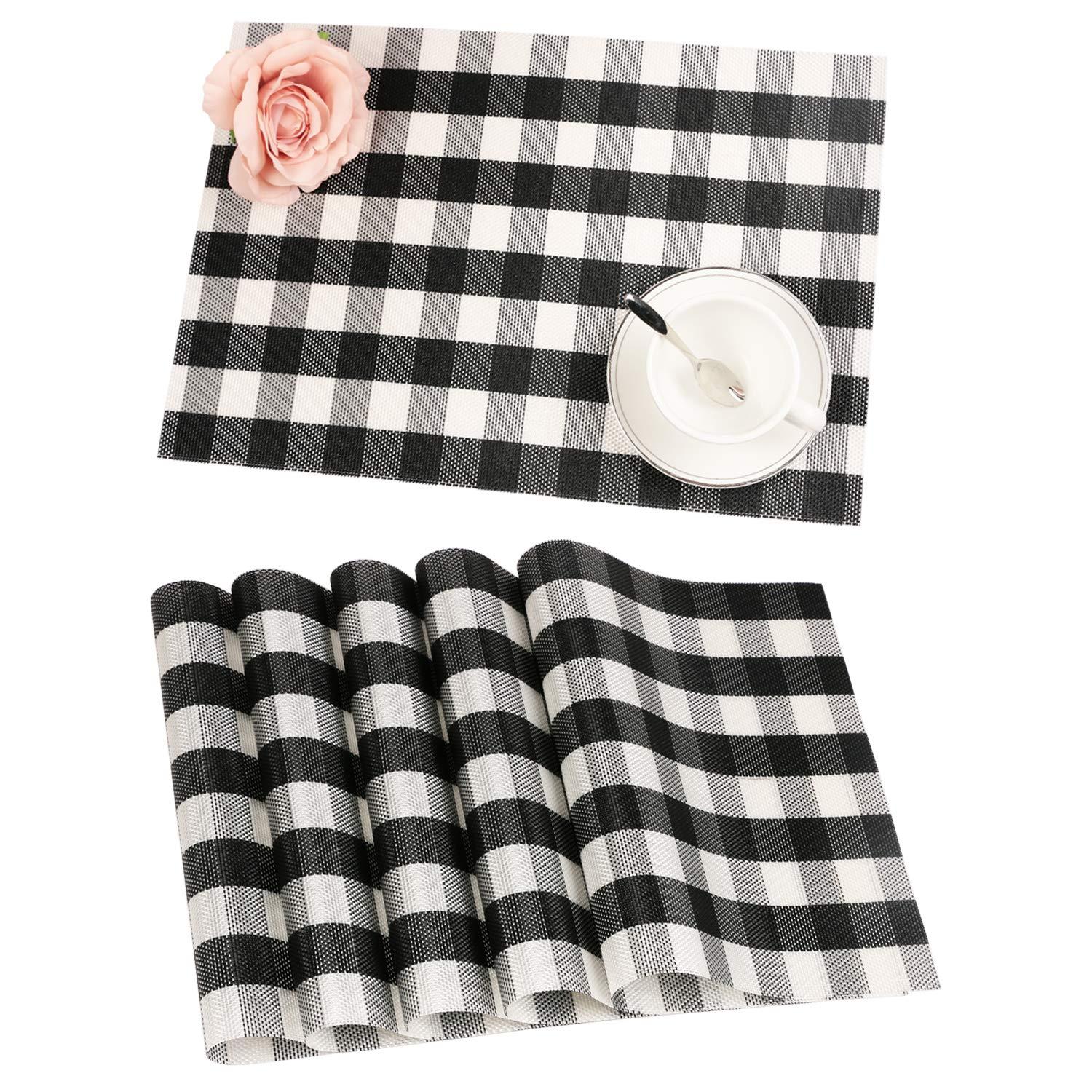 Homcomoda PVC Buffalo Plaid Placemats Set of 6 Black & White Checkered Washable Place Mats for Kitchen Table