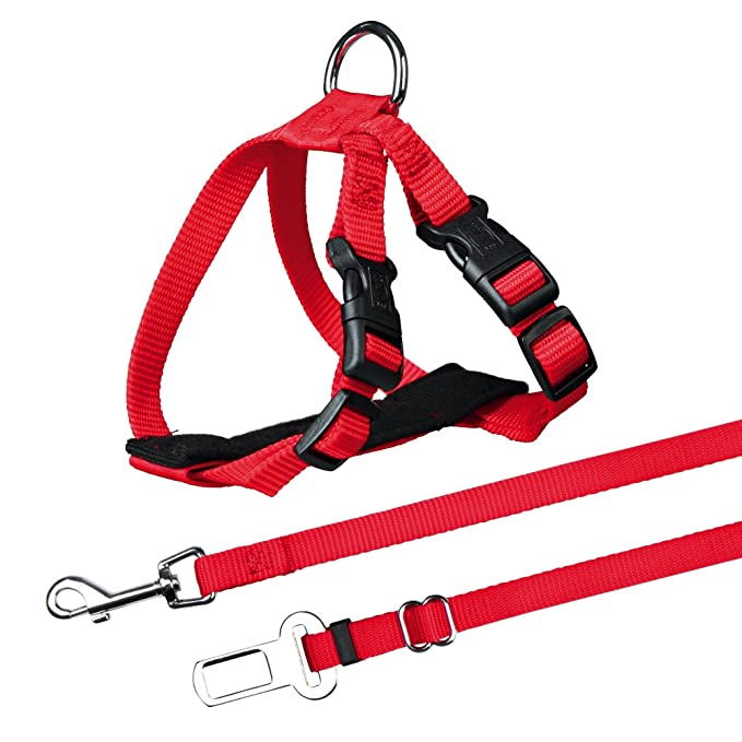 Trixie Arnés y Cinturón Seguridad Gatos, 20-50 cm, Rojo