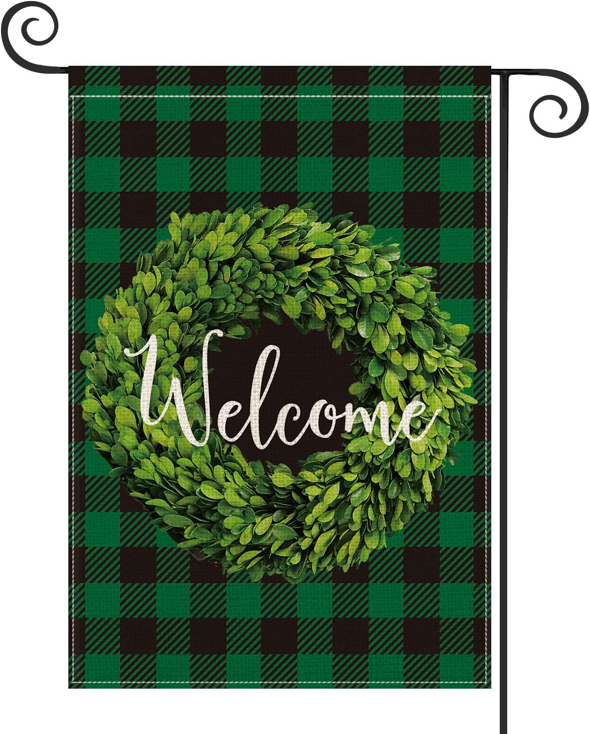 AVOIN Boxwood Wreath Welcome Garden Flag Vertical Double Sided, St Patrick Spring Buffalo Check Plaid Rustic Farmhouse Flag Yard Outdoor Decoration 12.5 x 18 Inch