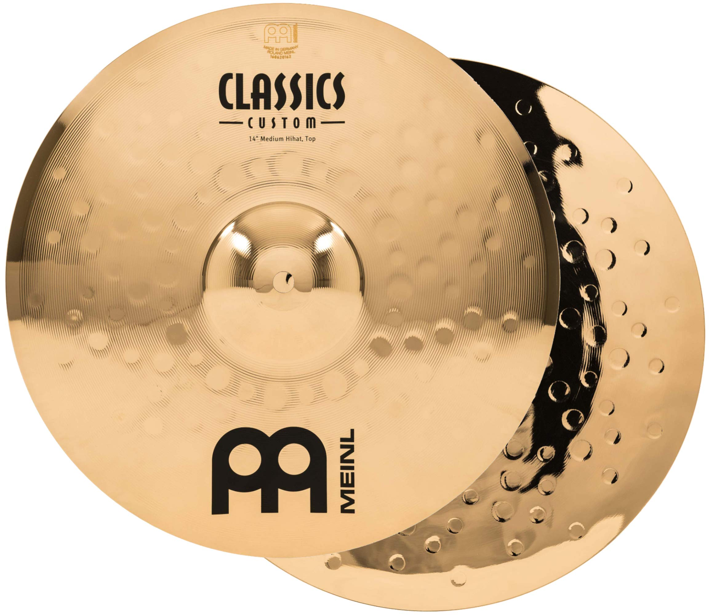 Meinl 14'' Medium Hihat (Hi Hat) Cymbal Pair  -  Classics Custom Brilliant - Made in Germany, 2-YEAR WARRANTY (CC14MH-B) by Meinl Cymbals