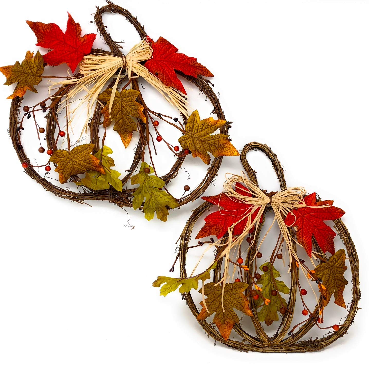 "D.I.D. Harvest Thanksgiving Pumpkin Wreath Fall Autumn Door Wall Decor Indoor Outdoor Multicolor Set of 2 (15"" x 13"" & 13 X 14)"