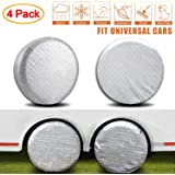 "AmFor Set of 4 Tire Covers,Waterproof Aluminum Film Tire Sun Protectors, Fits 27"" to 29"" Tire Diameters, Weatherproof…"