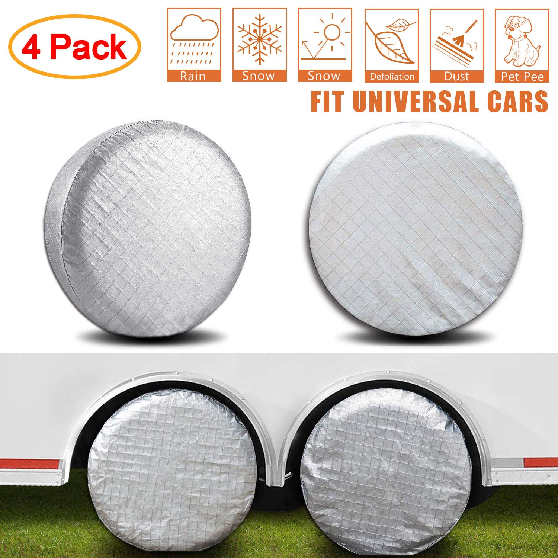 AmFor Set of 4 Tire Covers,Waterproof Aluminum Film Tire Sun Protectors,Weatherproof Tire Protectors,Fits 19'' to 22'' Tire Diameters