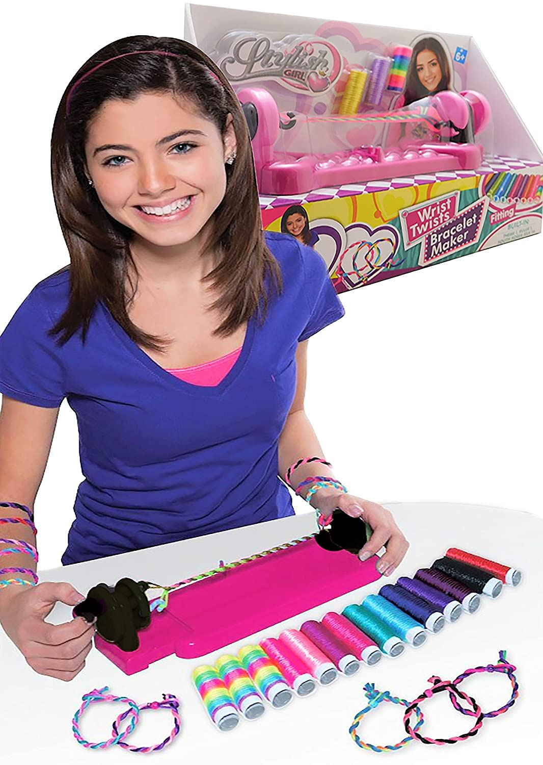 Allkindathings stylish Girl Wrist Twists and Wear Bracelet Maker Kit with 14 Colour Twine Three Bowness Ltd 857