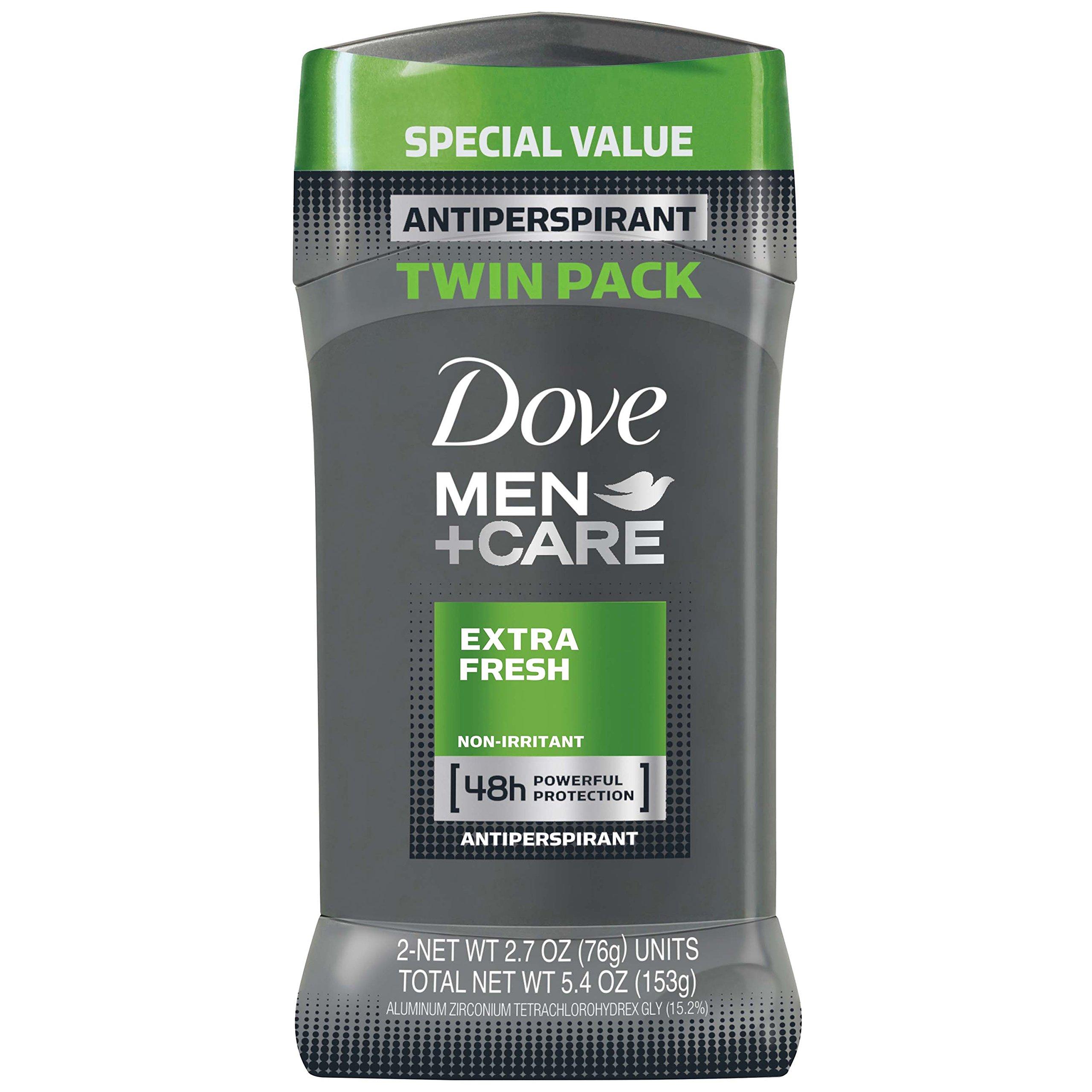 Dove Men+Care Antiperspirant Deodorant Stick, Extra Fresh, 2.7 oz (Pack of 2)