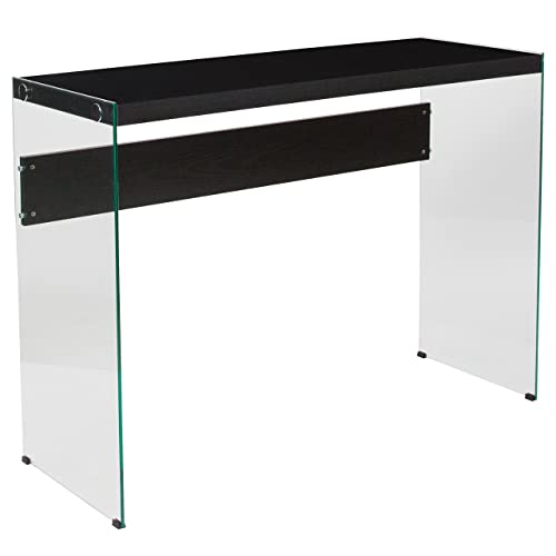 Flash Furniture Highwood Collection Dark Ash Finish Console Table with Glass Frame, NAN-JN21708ST-GG