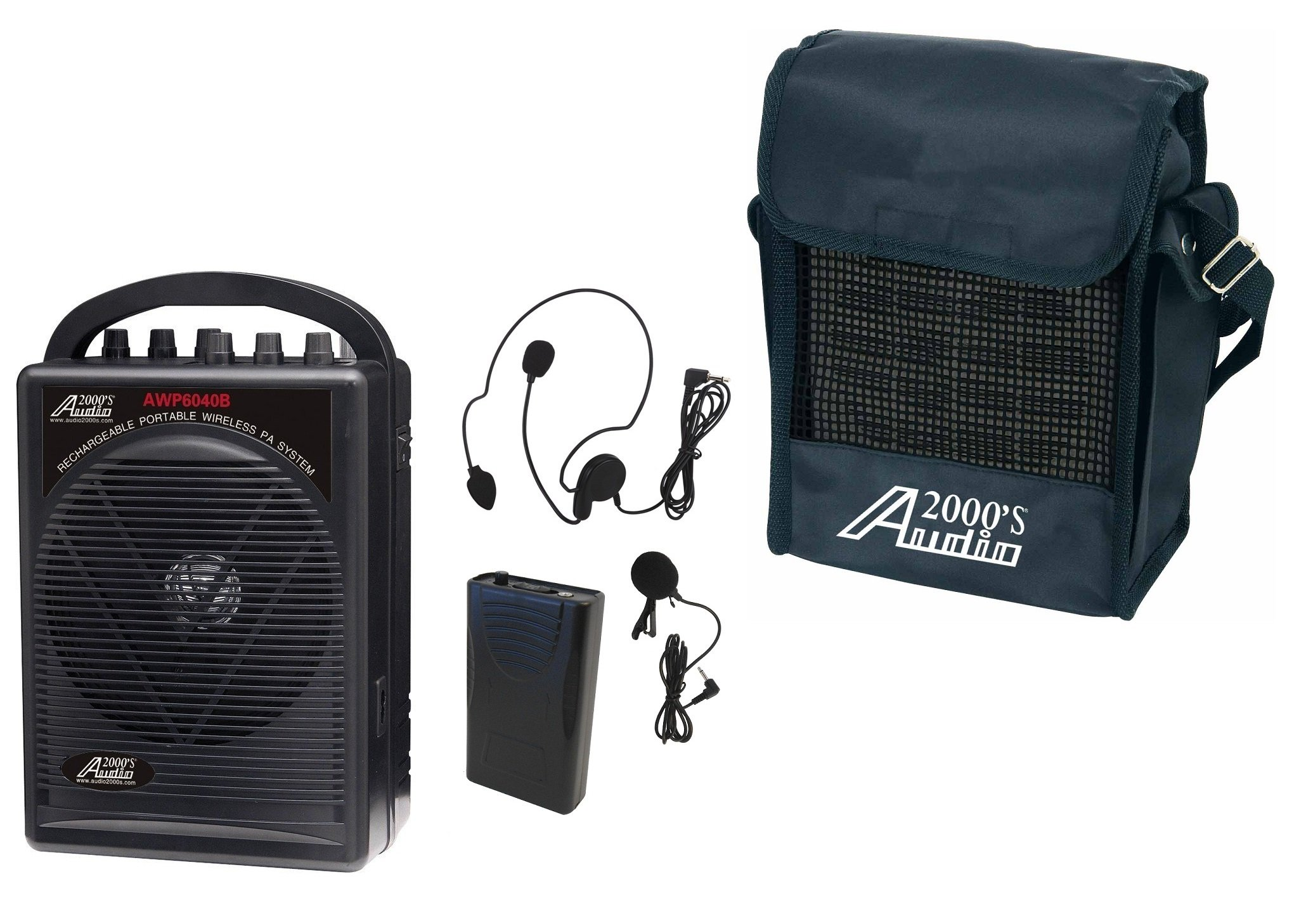 Audio2000'S AWP6040B-M Portable, Rechargeable PA System, Black