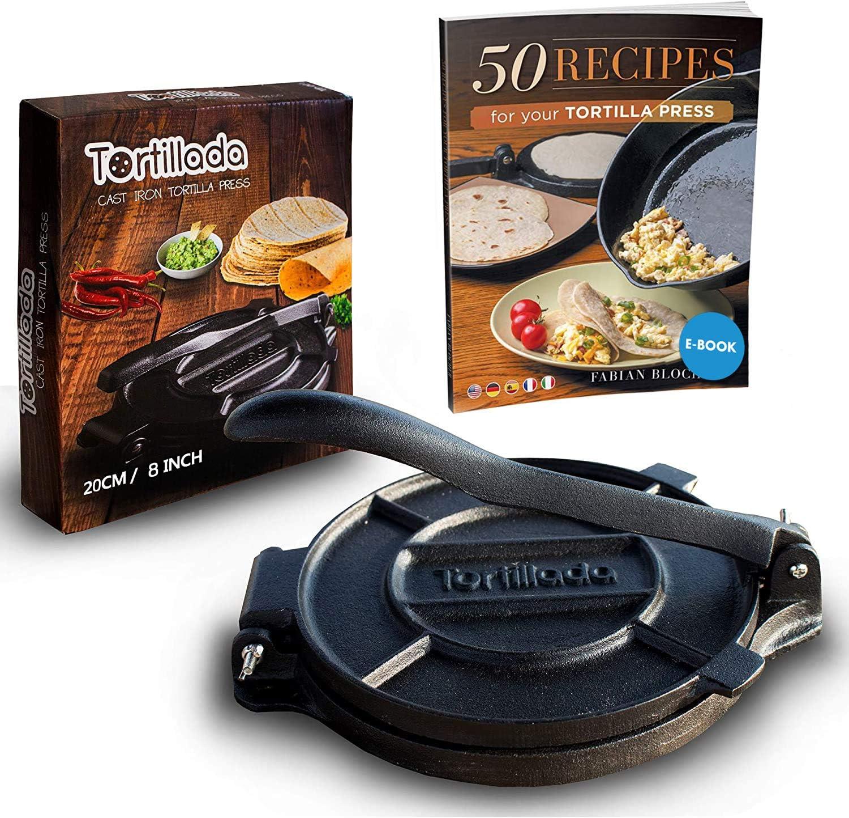 Tortillada – Prensa de Hierro Fundido para Hacer Tortillas + Recetas (20cm)