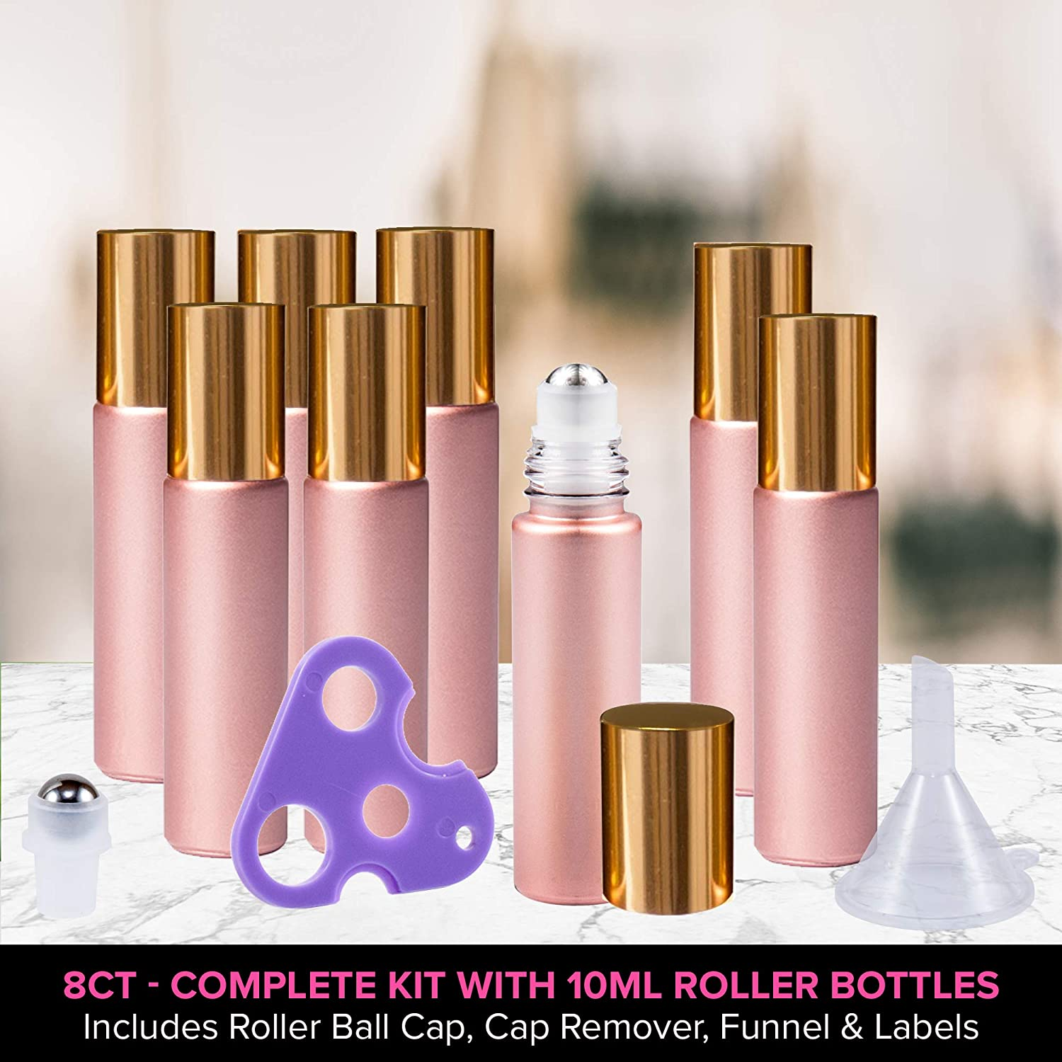 Rose Gold Ultimate Essential Oil Roller Bottles Set with Stainless Steel Balls, 8 Pack 10ml Leakproof Glass Bottle with 9 Rollerballs for Perfume & ...