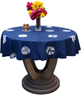 Hand Dyed Shibori Table Cloth Round Patio Table Cover Christmas Gift Tablecloth