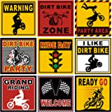 9 Pieces Dirt Bike Party Sign Motorcycle Party Decorations Dirt Bike Room Decor Race Car Party Cutouts for Party…