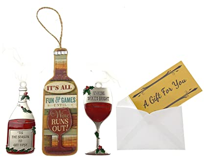 hickoryville wine themed christmas ornaments bundle of 3 its all fun games until the