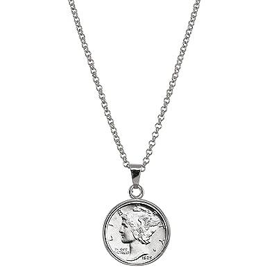 amazon american coin treasures silver mercury dime silvertone Liberty Silver Dollar american coin treasures silver mercury dime silvertone coin pendant with 18 quot chain necklace genuine