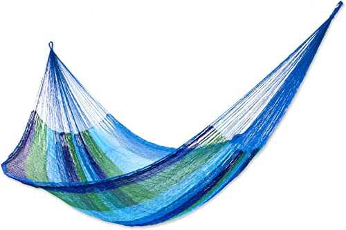 NOVICA Green Aqua Blue Striped Nylon Hand Woven Mayan Rope 2 Person XL Hammock