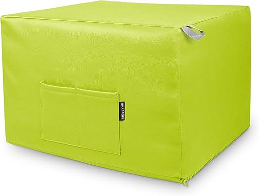 HAPPERS Puff Verde Convertible en Cama cómoda con Funda de Polipiel incluida, Futón con Cama colchon, colchoneta Convertible en Puff o cómodo sillón Fabricado en España. Incluye 3 años de garantía: Amazon.es: