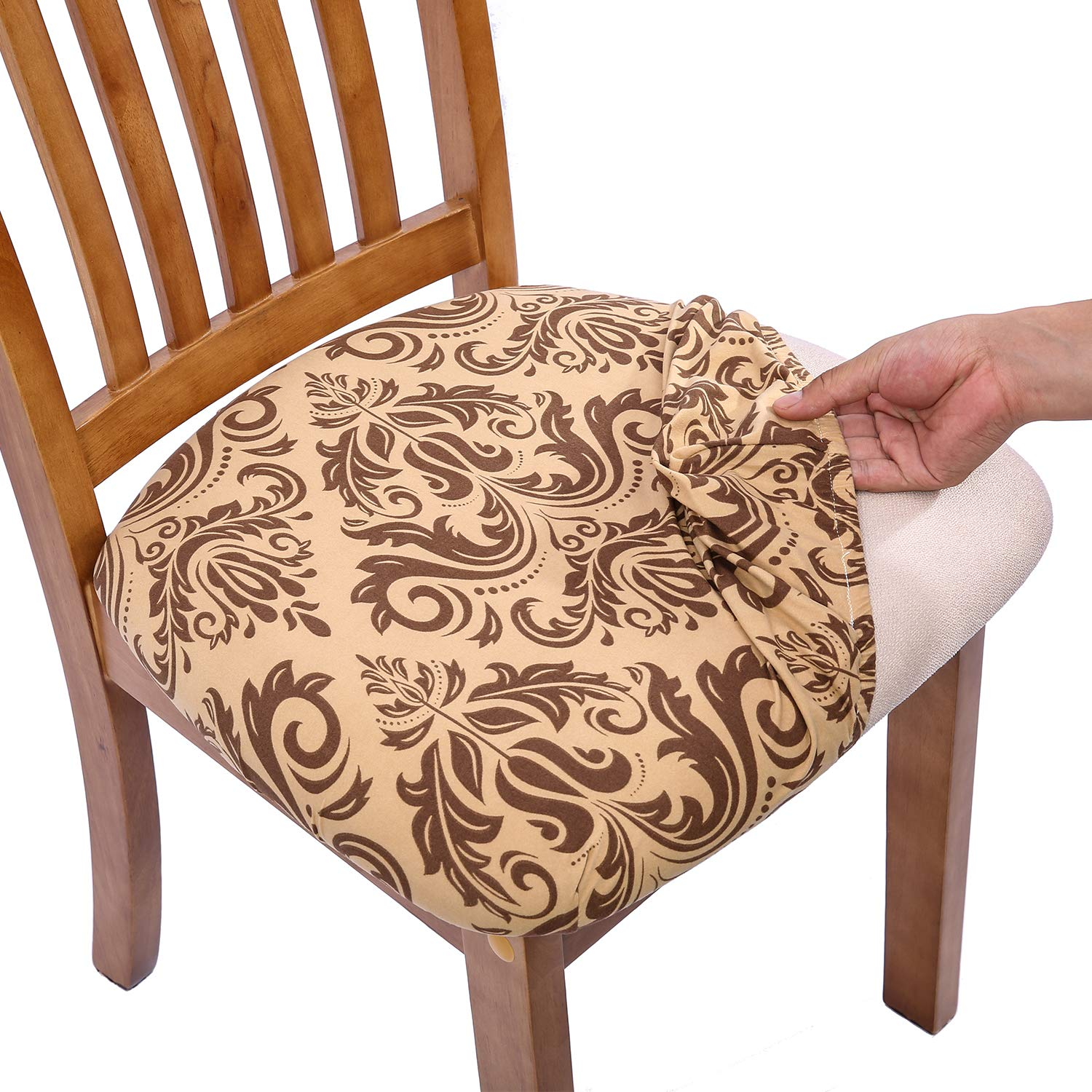 Superb Comqualife Stretch Printed Dining Chair Seat Covers Removable Washable Anti Dust Upholstered Chair Seat Cover For Dining Room Kitchen Office Set Alphanode Cool Chair Designs And Ideas Alphanodeonline