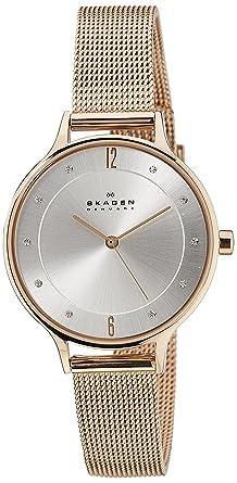 3393fd97fb7 Amazon.com  Skagen Women s Anita Watch In Rose Goldtone Mesh  Watches