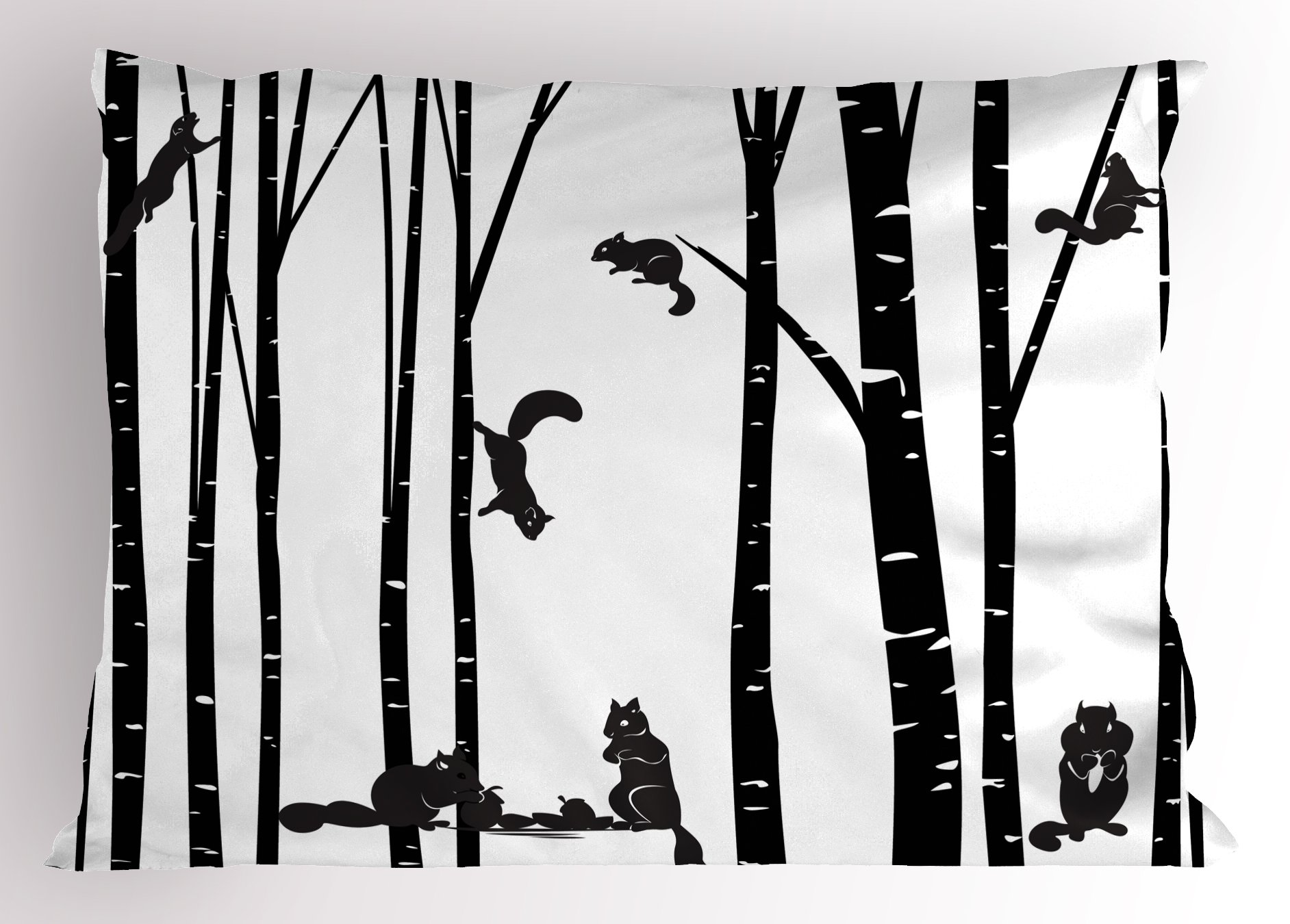 Lunarable Black and White Pillow Sham, Family of Squirrel in Birch Forest Chipmunks Wildlife in The Woods, Decorative Standard Size Printed Pillowcase, 26 X 20 inches, Black and White