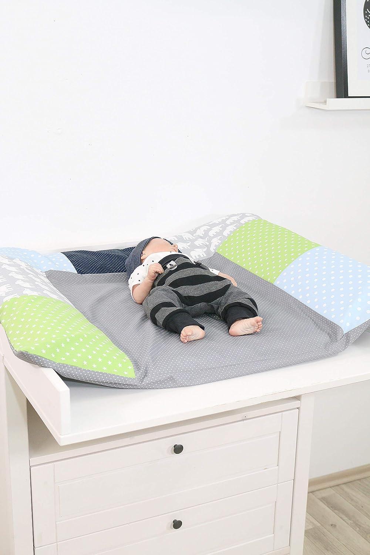 85x75 cm Wickelauflagenbezug, Baby Wickelunterlage aus Baumwolle, Motiv: Sterne, Punkte ULLENBOOM /® Bezug f/ür Wickelauflage Blau Hellblau Grau
