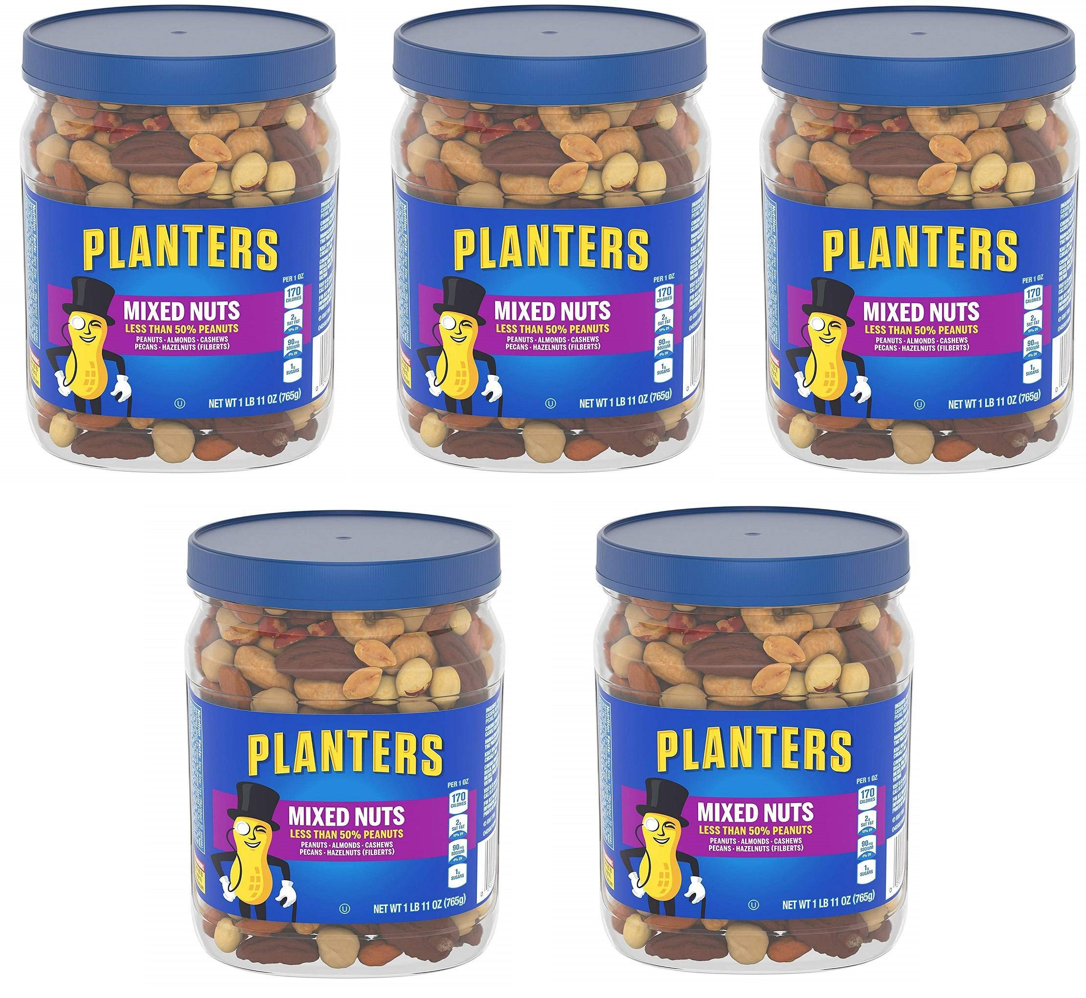 Planters Mixed Nuts, Regular Mixed Nuts, 5 Tubs