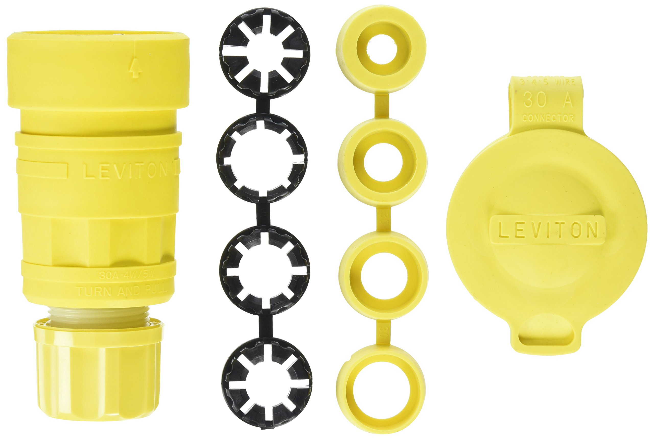 Leviton 29W81 30-Amp, 120/208-Volt 3PY, NEMA L21-30R, 4P, 5W, Locking Connector, Industrial Grade, Grounding, Wetguard, Yellow