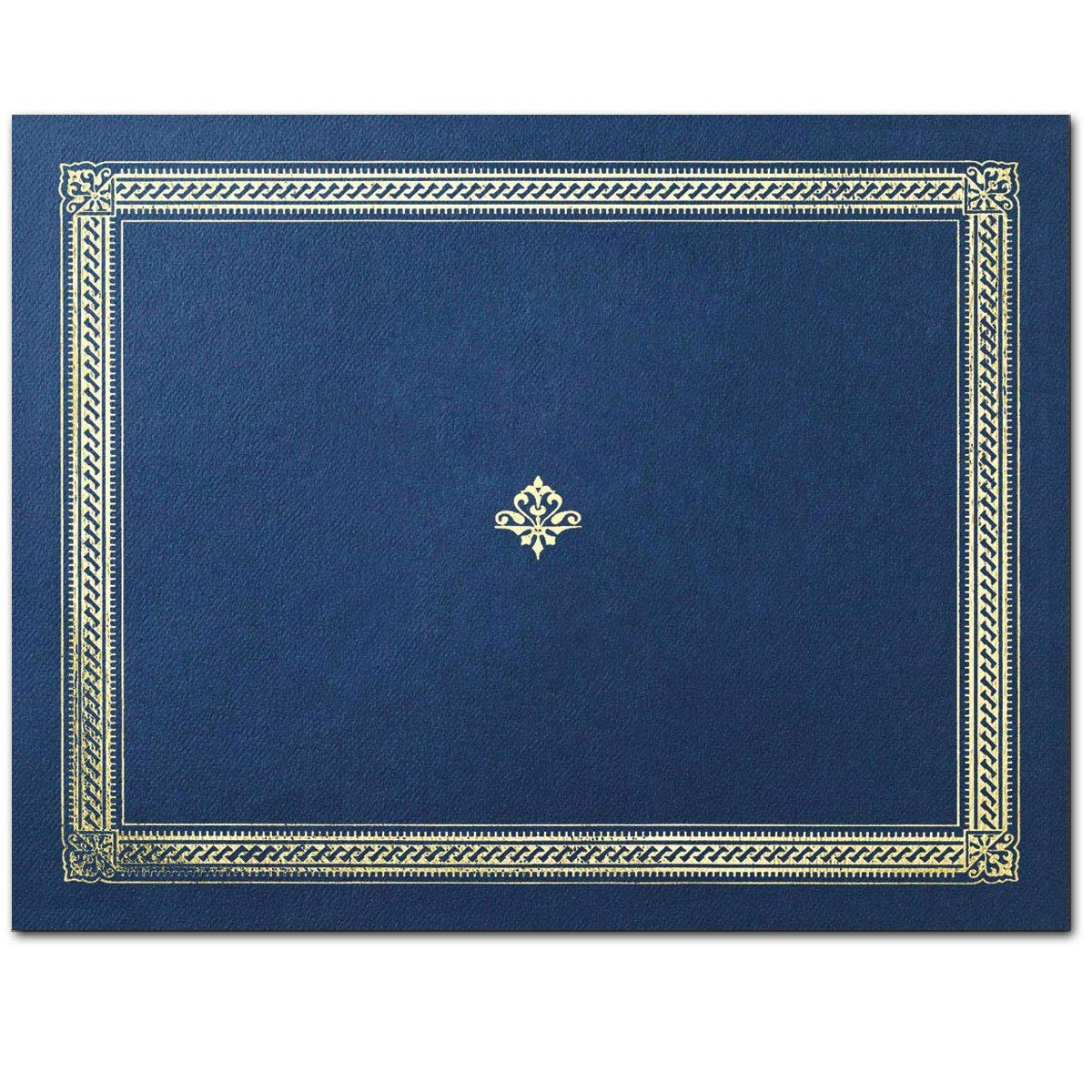 Sleek Swirls Premier Fold Certificate Jackets, 9 1/2 x 12, Blue with Gold Foil, Count of 50 by PaperDirect