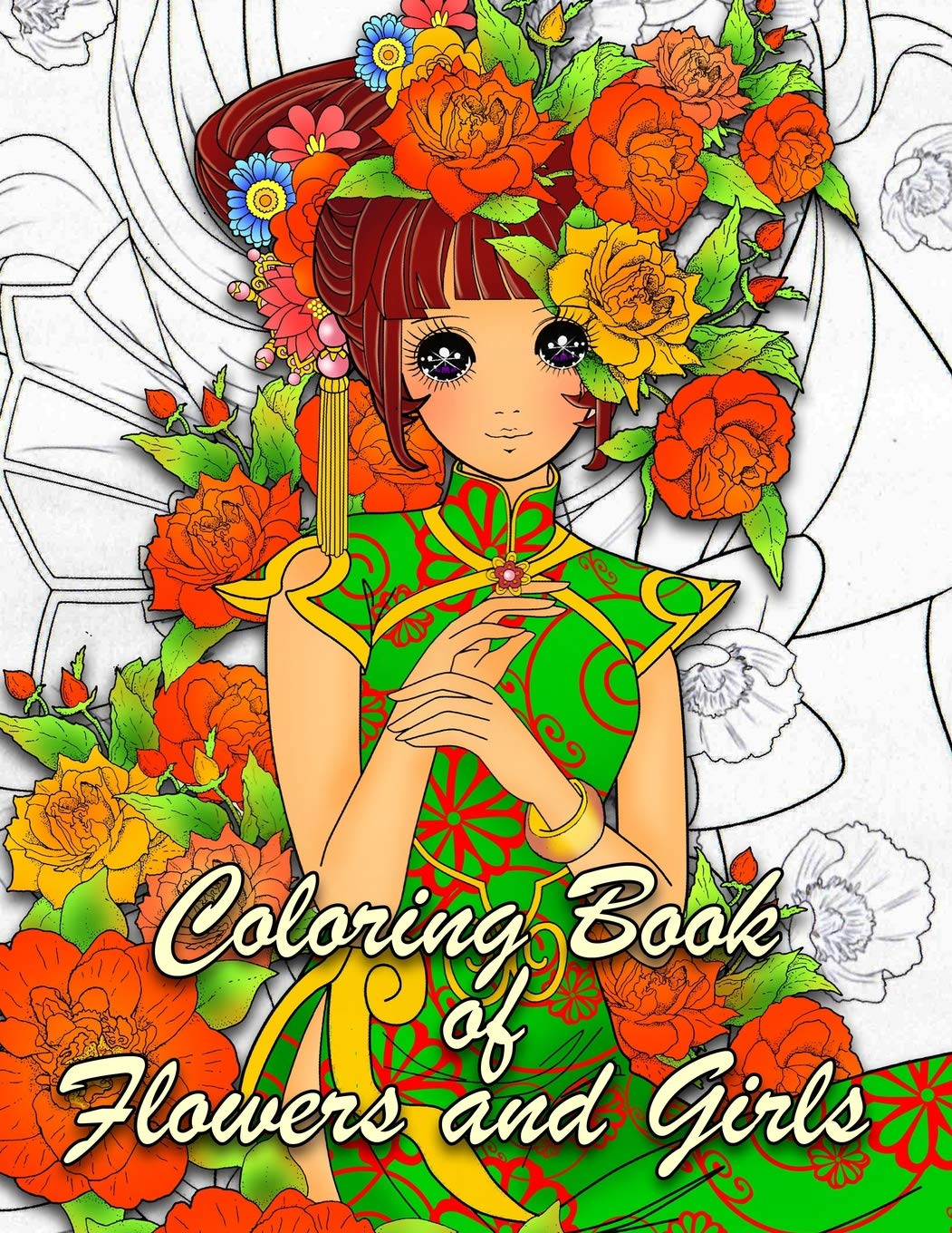 Coloring Book Of Flowers And Girls Anime Coloring Book For Adults