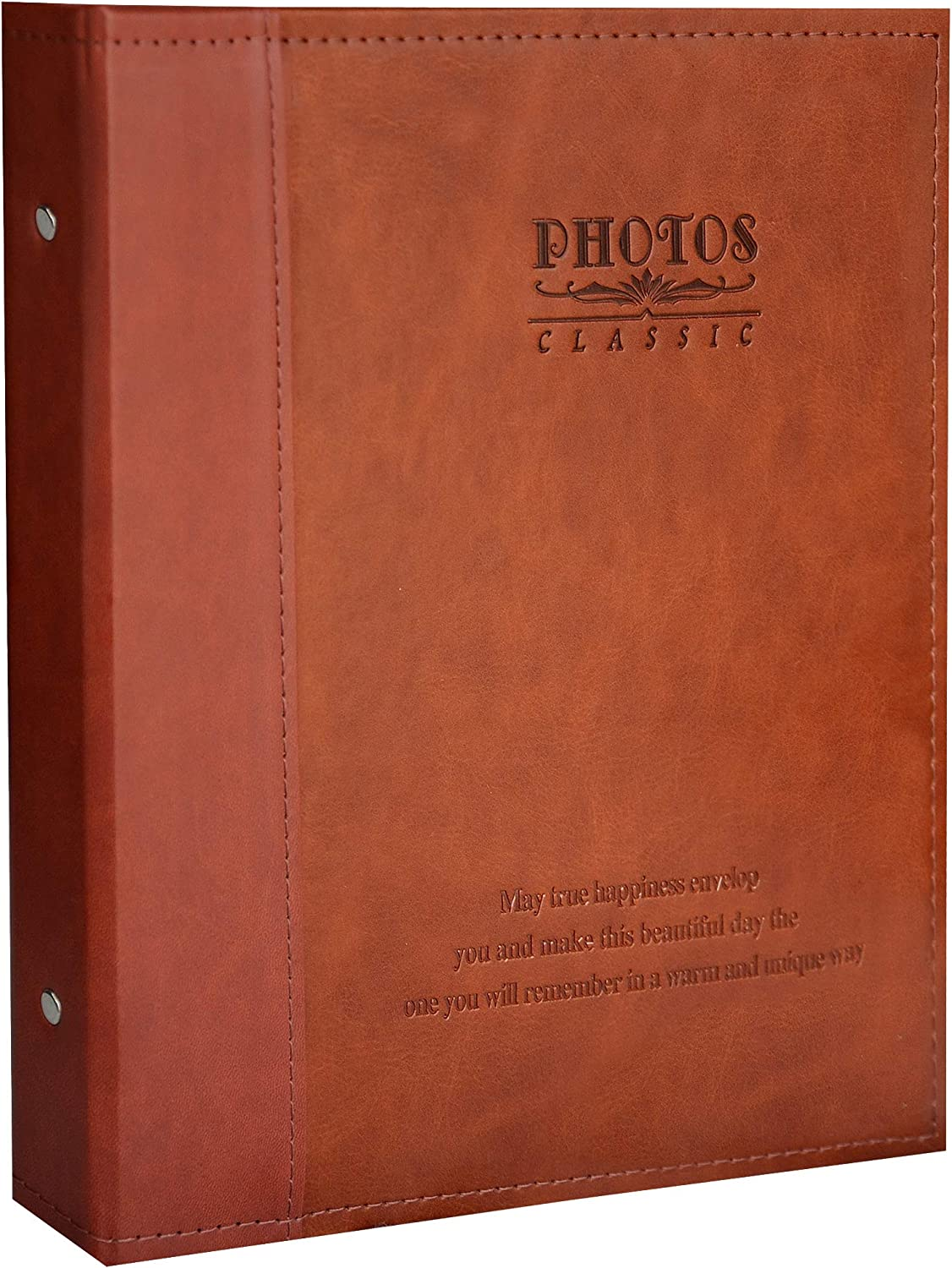 Zoview Leather Photo Album Holds 3X5, 4X6, 5X7, 6X8, 8X10 Photos, Dust-Free, Air-Free, and Waterproof, Hand Made DIY Albums (Red Brown, Medium)