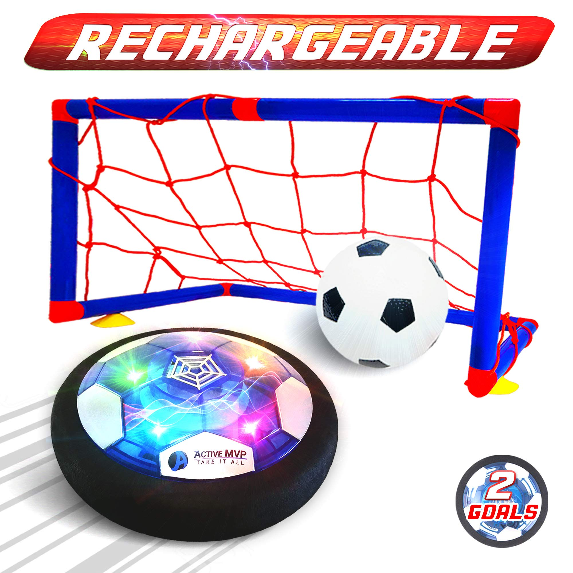 ActiveMVP Kids Toys Rechargeable Hover Soccer Ball Set with 2 Goals, Indoor LED Light Up Fun Air Soccer Game - No Battery Needed, Strong Improved ABS Plastic Quality - Boys Girls Age 3 4 5 6 7 8 9 11+ by ActiveMVP