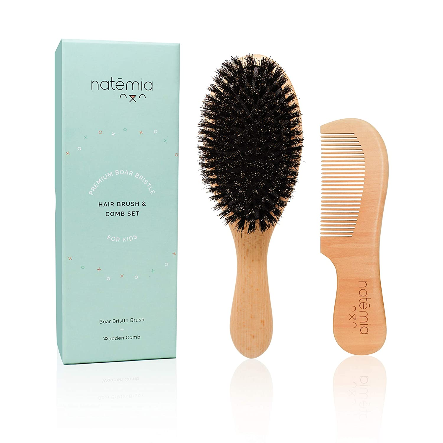 Natemia Boar Bristle Wooden Hair Brush and Comb Set for Women,Men and Kids - Ideal for Thin and Normal Hair - Adds Shine and Improves Hair Texture