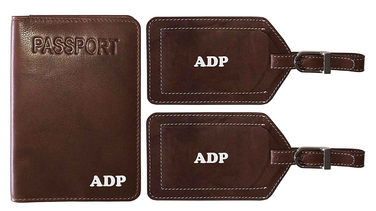 3197fa57158d Personalized Monogrammed Toffee Leather RFID Passport Cover Holder and 2  Luggage Tags