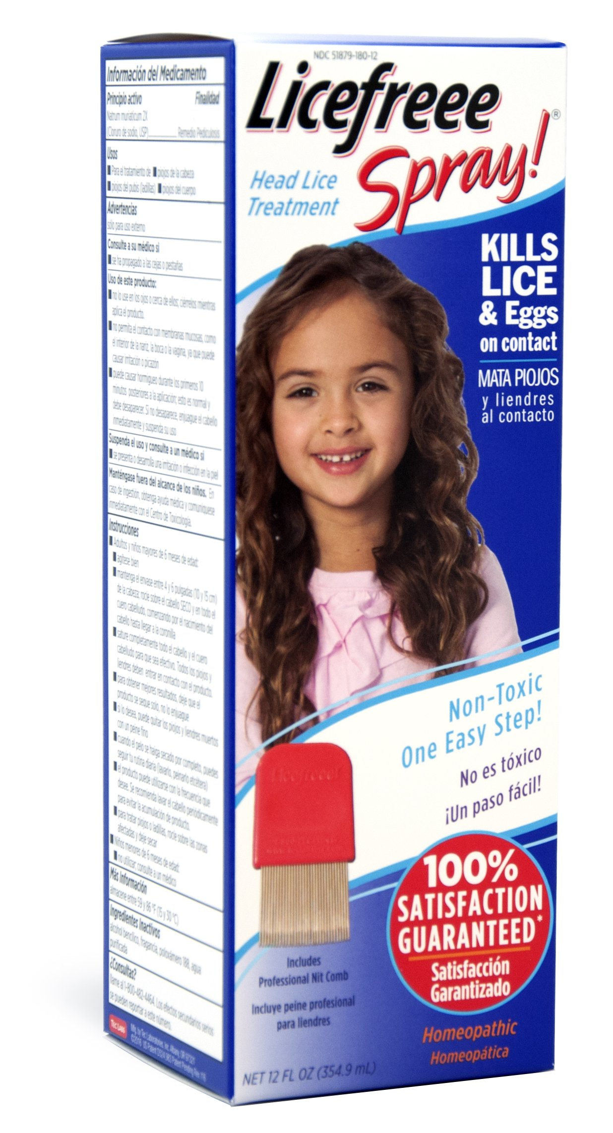 Licefreee Spray Large Family Size Head Lice Treatment (Kills Lice and Eggs on Contact) Includes Professional Metal Nit Comb, 12 Fluid Ounce (4 Pack) by Tec Labs