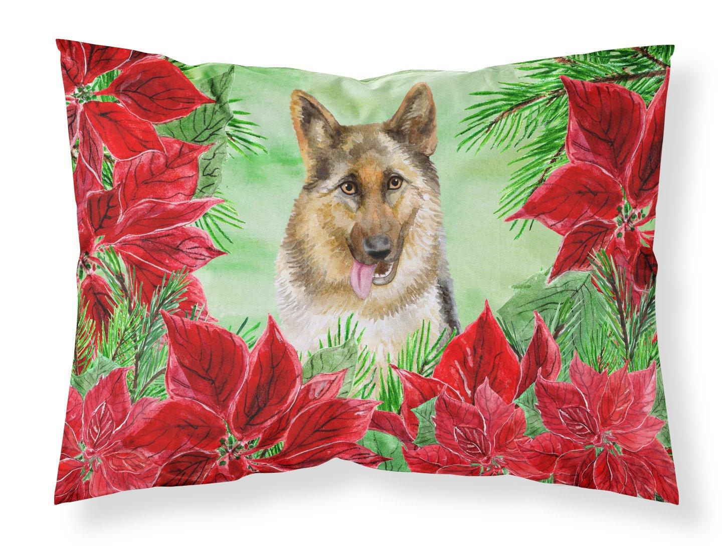 Multicolor Carolines Treasures CK1302PILLOWCASE German Shepherd Poinsettas Fabric Standard Pillowcase Standard