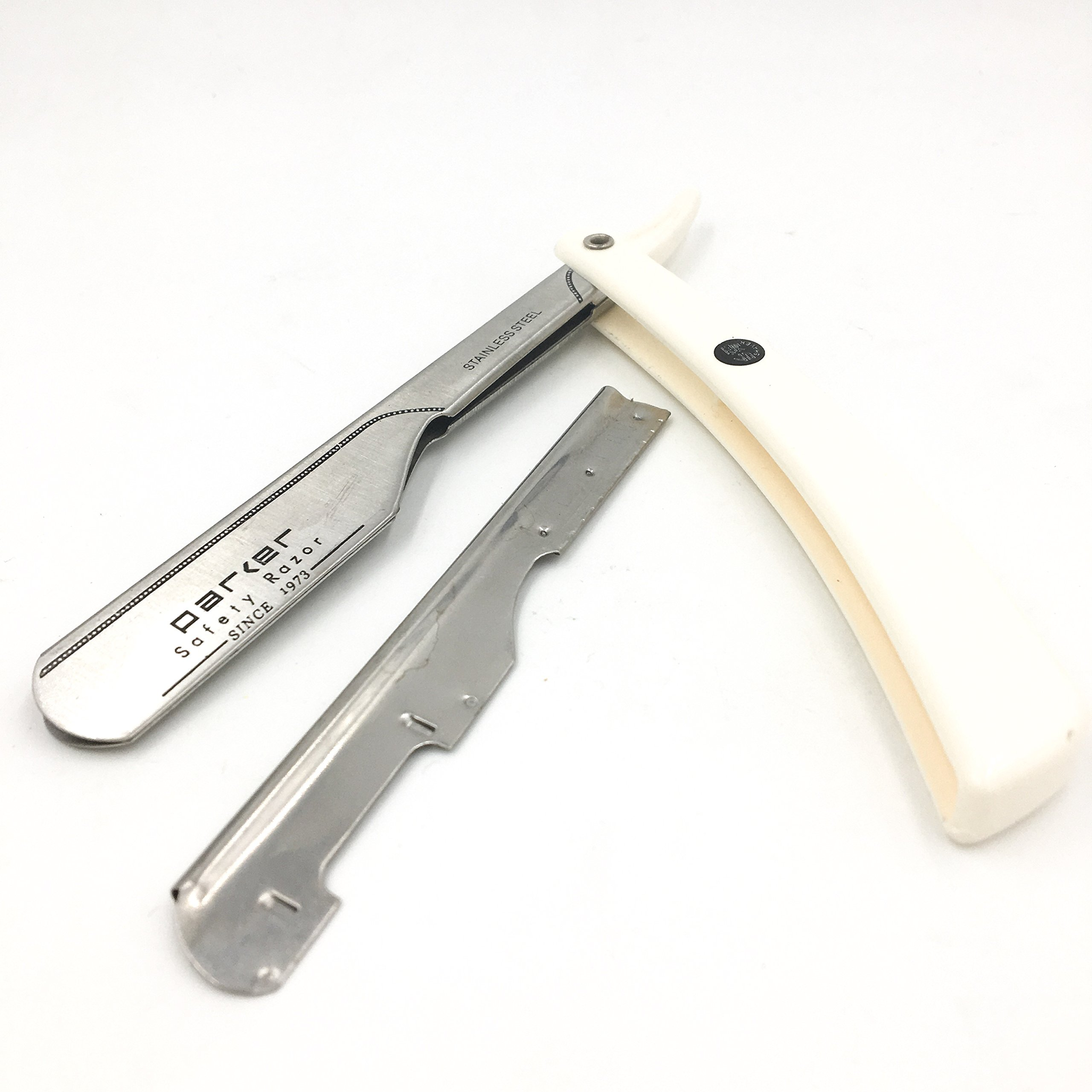 Parker PTW''Push Type Blade Load'' Straight Edge Barber/Shavette Razor with Stainless Steel Blade Arm and 5 Shark Stainless Blades