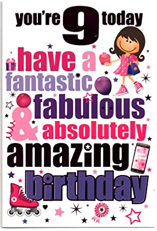 Birthday card for nine 9 year old girl free 1st class post uk birthday card for nine 9 year old girl free 1st class post bookmarktalkfo Images