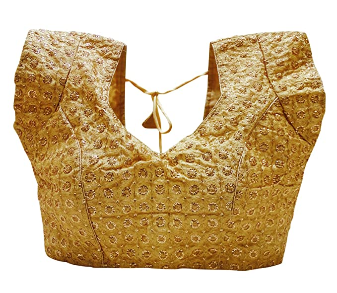 PEEGLI Blusa Acolchada Sari Indio Choli Étnica De La Moda De Las Mujeres