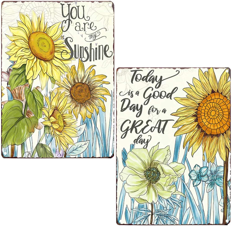 PXIYOU Colorful Sunflower Retro Vintage Tin Bar Sign Home Garden Wall Plaque Farmhouse Bathroom Decor 2Pcs-8X12Inch