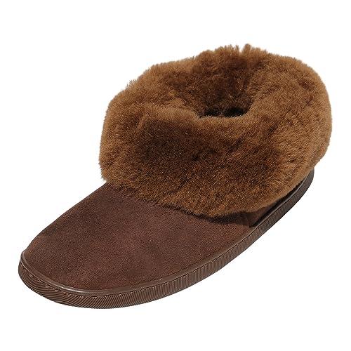 ab93c8fdc5869 Hollert German Leather Fashion peau de mouton chaussons - Bambi Femmes  Chaussures avec laine chaussures en